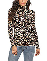 cheap -women turtle neck autumn long sleeve cotton leopard slim tops plus size bloues black m