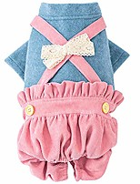 cheap -dog clothes cozy blue&pink puppy jumpsuits soft dog shirts with corduroy pants warm autumn winter cute outfits