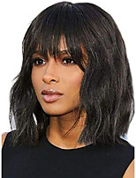 cheap -bk beckoning short curly wavy bob wigs for women natural black body wave wig with bangs synthetic heat resistant fiber wigs with pu fake scalp 2# color