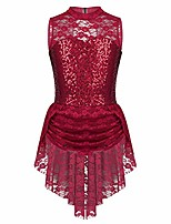 cheap -figure skating dress sleeveless sequins lace girl rhythmic gymnastics performance clothing customize show competition dance costumes,red-child10