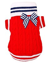 cheap -navy style winter warm cable knit dog sweater with lovely bow, red, s