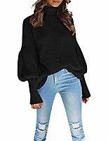 cheap -womens sweater tops knitted turtleneck long lantern sleeve solid ribbed chunky loose stylish jumper cardigan (m,black)