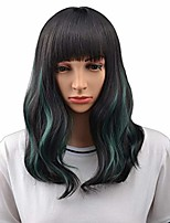 "cheap -16"" womens short curly wavy wig with bangs synthetic hair party wigs wig cap included (black mixed green)"