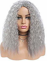 cheap -grey long curly wigs for women afro deep curly wig middle part high density color layered synthetic full wigs (grey)
