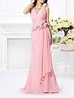 cheap -Mermaid / Trumpet Elegant Floral Wedding Guest Formal Evening Dress V Neck Sleeveless Sweep / Brush Train Chiffon with Sash / Ribbon Pleats 2020