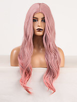 cheap -Cosplay Costume Wig Synthetic Wig Body Wave Deep Wave Middle Part Wig Long Pink / Purple Synthetic Hair Women's Odor Free Fashionable Design Soft Rose Pink / Heat Resistant