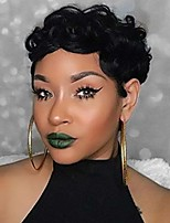 cheap -short wavy synthetic hair wigs pixie cut wigs for black women short layered heat resistant wigs 1b color