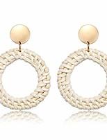 cheap -rattan earrings for women handmade woven straw wicker drop dangle earrings statement lightweight drop hoop earrings (hoop light)