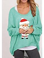 cheap -Women's Christmas Blouse Shirt Cartoon Long Sleeve Print Round Neck Tops Christmas Basic Top White Black Red