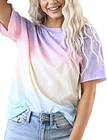 cheap -women's casual summer cute tops blouse short sleeve tie dye tee shirt purple tie dye medium