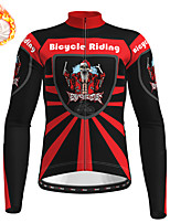 cheap -21Grams Men's Long Sleeve Cycling Jersey Winter Fleece Polyester Red Skull Christmas Santa Claus Bike Jersey Top Mountain Bike MTB Road Bike Cycling Fleece Lining Warm Quick Dry Sports Clothing