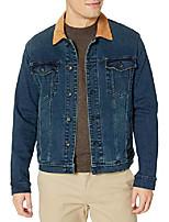 cheap -men's buzz washed indigo trucker contrast collar detail, xx-large