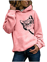cheap -Women's Pullover Hoodie Sweatshirt Cat Daily Casual Hoodies Sweatshirts  Loose White Blushing Pink Green