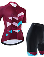 cheap -Women's Short Sleeve Cycling Jersey Cycling Jersey with Bib Shorts Cycling Jersey with Shorts Black Burgundy Black / White Bike Breathable Quick Dry Sports Geometric Mountain Bike MTB Road Bike