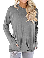 cheap -women basic shirt pullover long sleeve blouse casual shirt top with pockets grey