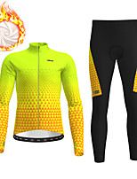 cheap -21Grams Men's Long Sleeve Cycling Jersey with Tights Winter Fleece Polyester Green / Yellow Bike Clothing Suit Thermal Warm Fleece Lining Breathable 3D Pad Warm Sports Graphic Mountain Bike MTB Road