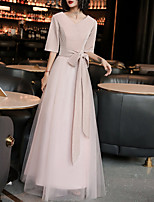 cheap -A-Line Minimalist Vintage Wedding Guest Formal Evening Dress V Neck Half Sleeve Floor Length Spandex Tulle with Sash / Ribbon 2020