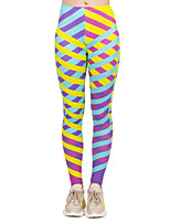 cheap -Women's Sporty Comfort Skinny Gym Yoga Leggings Pants Striped Patterned Ankle-Length Print High Waist Yellow