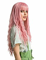 cheap -pink long curly wave wigs natural middle part with air bang for women natural looking cosplay wigs heat resistant fiber (ombre pink)