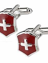 cheap -cufflinks with gift box,swiss cross cufflinks for men wedding business anniversary man mens cuff links (set of 2 swiss cross)