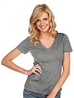 cheap -women sheer jersey deep v neck short sleeve dark heather gray s