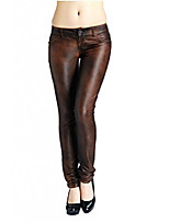 cheap -women's serpentine low waist leather slim skinny pencil pants