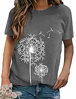 cheap -women's floral print short sleeve t-shirt top casual crew neck summer graphic tees tops basic loose shirts blouses grey