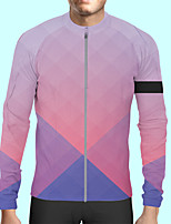 cheap -CAWANFLY Men's Long Sleeve Cycling Jersey Polyester Blue+Pink Bike Jersey Top Mountain Bike MTB Road Bike Cycling Quick Dry Sports Clothing Apparel / Stretchy / SBS Zipper / Italian Ink