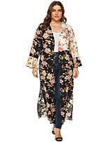 cheap -Women's Swing Dress Knee Length Dress - Long Sleeve Floral Ruffle Patchwork Fall V Neck Plus Size Elegant Casual Christmas Loose 2020 Black L XL XXL 3XL 4XL