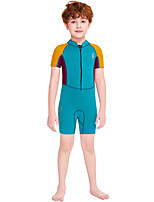 cheap -Dive&Sail Boys' Shorty Wetsuit 2.5mm SCR Neoprene Diving Suit Windproof Quick Dry Short Sleeve Front Zip Patchwork Summer / Kids
