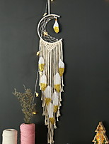 cheap -Hand Woven Macrame Dreamcatcher Bohemian Boho Art Decor Hanging Home Bedroom Living Room Decoration Nordic Handmade Tassel Cotton Yellow Moon