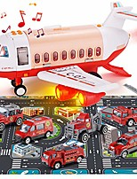 cheap -mist spay transport airplane cargo with 6 mini diecast fire fighting vehicles and playmat for toddlers, children educational toy plane with music & lights, ideal car set for kids 3 4 5 6 years