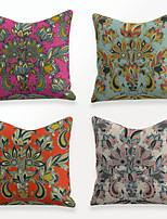 cheap -Cushion Cover 4PCS Linen Soft Decorative Square Throw Pillow Cover Cushion Case Pillowcase for Sofa Bedroom 45 x 45 cm (18 x 18 Inch) Superior Quality Mashine Washable Colorful Floral Print