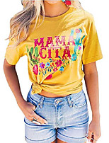 cheap -mamacita t-shirt for women flowers cactus letter print graphic tees casual summer vacation short sleeve shirt tops (yellow, large)