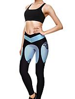 cheap -Women's Sporty Comfort Gym Yoga Leggings Pants Striped Flower Ankle-Length Print Blue