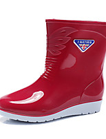 cheap -Women's Boots Flat Heel Round Toe Daily Walking Shoes PVC Solid Colored Red Light Green Blue / Mid-Calf Boots