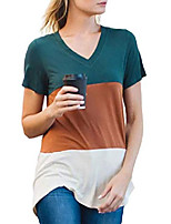 cheap -ecrocoo womens summer casual v neck triple color block stripe short sleeve basic fashion t-shirt tops(orange-xl)