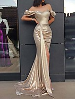 cheap -Mermaid / Trumpet Sexy bodycon Wedding Guest Prom Dress Off Shoulder Sleeveless Sweep / Brush Train Satin with Split 2020