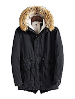 cheap -men's cotton jackets detachable fur hooded fleece lined parka coat (m,navy)