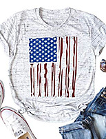 cheap -women american flag print shirt star striped tee t shirt independence day short sleeve top size s (white)