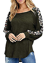 cheap -womens casual round neck leopard patchwork long sleeve t-shirt pullover tops for women army green
