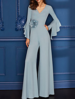 cheap -Jumpsuits Floral Minimalist Wedding Guest Formal Evening Dress V Neck Long Sleeve Floor Length Spandex with Sleek Appliques 2020
