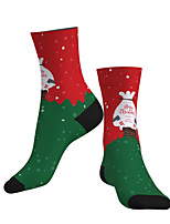 cheap -Socks Cycling Socks Men's Women's Bike / Cycling Breathable Soft Comfortable 1 Pair Graphic Santa Claus Cotton Green S M L / Stretchy