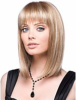 cheap -straight bob wig with bangs straight wigs for women bob style blond bob wig shoulder length wig with bangs synthetic full hair wigs bob straight hair wig heat resistant