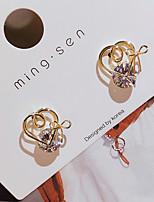 cheap -Women's AAA Cubic Zirconia Stud Earrings Heart Birthday Elegant Romantic Sweet Earrings Jewelry Gold For Birthday Party Evening Date 1 Pair