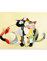cheap -Animal Oil Painting On Canvas Cat Abstract Contemporary Art Wall Paintings Handmade Painting Home Office Decorations Canvas Wall Art Painting Rolled Canvas No Frame