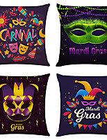 cheap -Cushion Cover 4PCS Carnival  Party Decoration Carnival  Linen Soft Decorative Square Throw Pillow Cover Cushion Case Pillowcase for Sofa Bedroom 45 x 45 cm (18 x 18 Inch) Superior Quality