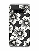 cheap -phone case | for samsung galaxy s10 plus | protective clear crystal hardshell phone cases with slim design and drop protection - hollyhock floral clear/cream with stones