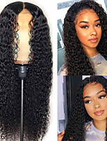 cheap -Synthetic Wig Bouncy Curl Middle Part Wig Long Black Synthetic Hair Women's Soft Elastic Fluffy Black