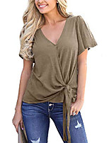 cheap -womens v neck blouses summer cotton tops casual short sleeves tee top khaki s